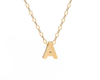 Tiny Gold Initial Necklace | Personalized Necklace