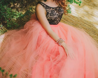 Coral Maxi Tulle Skirt/Tutu Floor Length Resort Fashion
