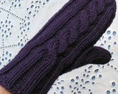 Purple Mittens with Cable, Women's Gloves - Pure Wool in Royal Purple, Soft and Warm