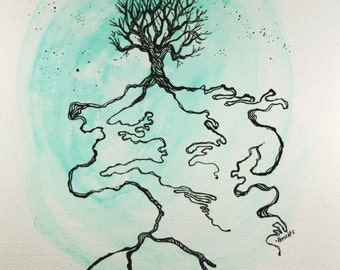 Earth, Tree, Sky . Original Pen and Ink Drawing . Mixed Media Art . Watercolor Painting . India Ink Line Drawing