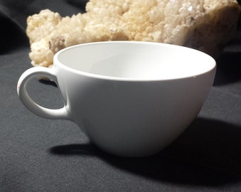 Vintage Corning Centura White Coupe Short Flat Cup / 1960s Centura by Corning Pure White Cup / MCM White Coffee Cup