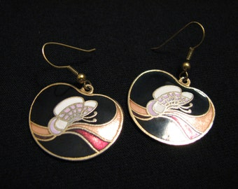 Vintage Gold Tone and Multicolored Black Cloisonne Enameled Butterfly Pierced Earrings