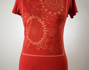 Women's Short Sleeve T Organic Viscose Bamboo/Cotton Flowers Red