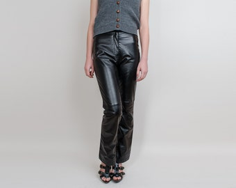 1990s Genuine Leather Pants / Leggings - Vintage 90s Black Leather & Half Stretchy Pants - XS