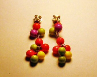 Vintage Mod Neon Dangling Lucite Clip Earrings (E-1-4)