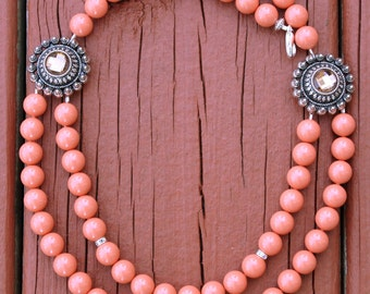 Pearl Necklace, Beadwork Necklace, Coral Necklace, Coral Wedding Jewelry, Bridesmaid Jewelry