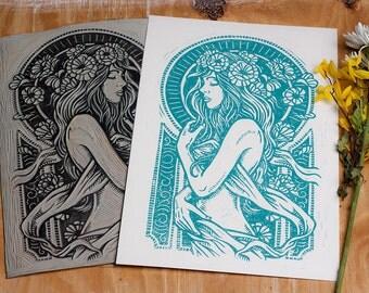 Dame De Fleurs - Blue Block Print