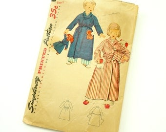 Child Size 1 Robe 50s Simplicity Pattern 4058 / Missing Doll and Transfer
