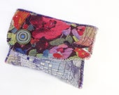 Upcycled Soft Artsy Clutch Bag Blue Red Magenta Handmade Christmas Gift