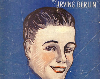 1919 Irving Berlin I've Got My Captain Working For Me Now Sheet Music Orange & Blue Home Decor Nautical Typography Nostalgic Antique Era