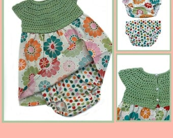 Baby Dress Crochet Pattern, Baby Crochet Patterns for girls, Crochet & Fabric Dress and Diaper Cover Pattern - 3 sizes (3mth to 18mth)