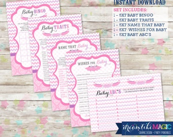 Printable INSTANT DOWNLOAD Baby Shower Games Tutu Cute Pink and Purple