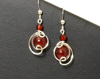 Red Carnelian Dangle Drop Earrings, Sterling Silver Wire Wrapped Small Red Stone Earrings, Unique Asymmetrical Argentium Silver Red Earrings