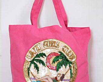 Hot Pink Tote with Sequins- LAZY GIRLS CLUB
