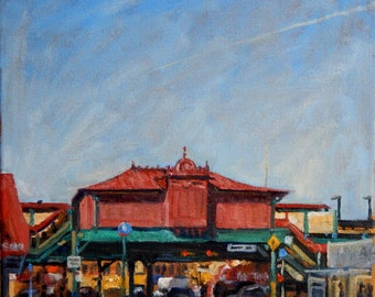 207th Street Subway Station, NYC. Oil on Canvas, New York City Oil Painting, 12x12 NYC Urban Impressionist Fine Art, Signed Original Oil
