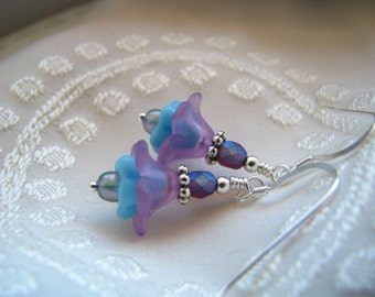 Petite Blue and Purple Lucite Flower Earrings in Silver