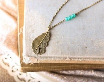 Feather Necklace,  Turquoise Glass Necklace, Native Jewelry, Tribal Necklace, Boho Necklace