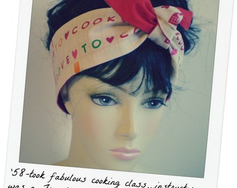 Cook Head Scarf, Love to Cook, Cooking Head Scarf, Knotted Cook Head Scarf, Cook Head Wrap