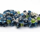London Blue Topaz Bracelet, London Blue Topaz Cluster Bracelet, Peridot Bracelet, Peridot Cluster Bracelet