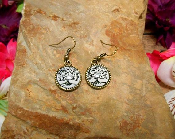 Tree of Life Earrings - Double Sided Earrings - Clearance - Swirl Tree - Tree Earrings
