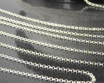 Sterling Silver Rolo Chain - 1.5mm Rolo Chains 5, 10, 30, 50 or 100 Feet - 30% off Wholesale Chains SS002