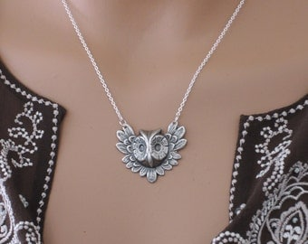 Vintage Necklace - Owl Necklace - Silver Necklace - Owl Jewelry - handmade jewelry
