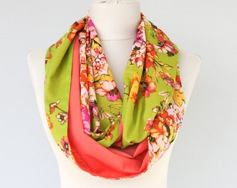 Cora infinity scarf spring scarf summer scarves  cotton scarf floral scarf loop scarf colorblock scarf double sided scarf women gift idea