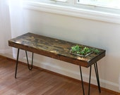 Succulent Garden Table // Small side or coffee table with planter // Steel Hairpin Legs