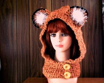 Animal Hooded Cowl  /  Chunky Fox Hats /  Fox Animal Crochet Hat and scarf / Chunky Fox Hooded Cowl