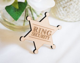 Ringer Bearer Gift Ring Security Badge Pin for Wedding, Rustic Wooden Ring Bearer Gift for Boys Wedding Accessories (Item - RNG100)