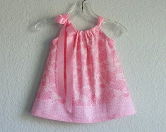 Baby Girl Pink Dress and Bloomers - Pink with Gingko Leaves and Birds - Baby Girls Pink Sun Dress - Size Newborn, 3m, 6m, 9m, 12m or 18m