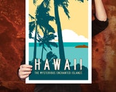 HAWAII Travel Poster Art, Personalized Print, Vintage Hawaiian Artwork, Tropical Decor, Retro Island Décor with Palm Trees. 20 x 30