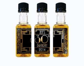 Whiskey Birthday Party Favors Custom Mini Bottle Liquor Labels Personalized Stickers Empty 50 mL Bottles 30 40 50 60 Adult Birthday EB-1094