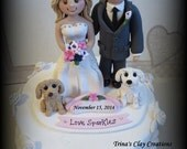 Wedding Cake Topper, Custom Cake Topper, Personalized, Polymer Clay, Bride and Groom, Two Pets, Wedding/Anniversary Keepsake