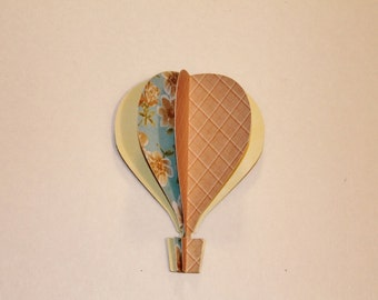 "3d Paper Hot Air Balloon 5"" soft yellow, tan plaid, blue with roses"