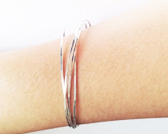 Sterling Silver Bangle Hammered Textured Wrap 4 Bands Organic Dainty Delicate Bracelet