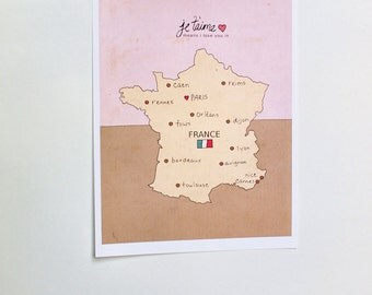 I Love You in France // French Map, Typography Poster, Giclee, Modern Baby Girl Pink Nursery Decor, European Travel Theme, Digital Print