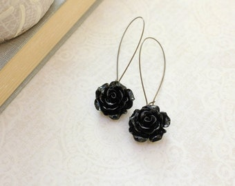 Black Rose Earrings Long Dangle Earrings Gothic Romantic Floral Accessories Neo Victorian Statement Jewelry Dark Winter Roses