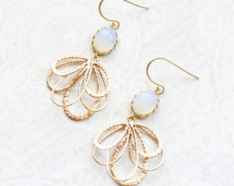 Opal Glass Earrings Gold Filigree Floral Dangle Earrings Pretty Modern White Glass Feather Bridesmaids Gift Bridal Jewelry Nickel Free