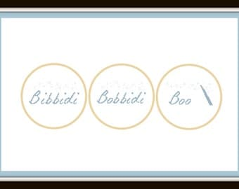 "Cross Stitch Pattern ""Bibbidi-Bobbidi-Boo"" - Digital File/ Instant Download - Hoop Art, Easy Cross Stitch"