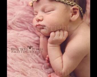 Newborn Photo Prop, Newborn Halo, Newborn Headband, Baby Tie Back Halo, Three Roses Newborn Halo, Baby Delicate Flowers Headband