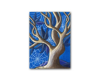 ACEO art print, Limited edition, Aceo tree, Miniature print, Tree miniature, Artist trading card, Copic marker art