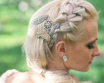 Bridal Hair Comb Hair Jewelry Vintage inspired rhinestone brooch Feather Leaf Art Deco 1920s Bohemian Bridal Wedding Romantic  475 476 477