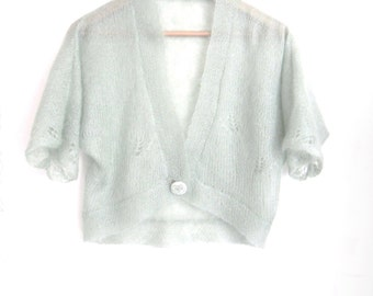 Mohair Bolero Jacket in custom colour , Wedding party cardigan , knitted mohair / silk bridal shrug , hand knit in delicate yarn