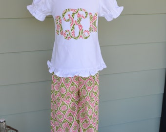 Girls Ruffle Pants & applique tshirt in power pop fabric with 1 or 3 letter monogram option custom made by Baby Harrill