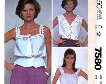 McCall's 7580 Vintage 80s Misses' Camisole Sewing Pattern - Uncut - Size 12 - Bust 34