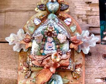 forest flower buddha shrine - mixed media art