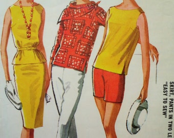 Vintage McCall's 6207 Sewing Pattern, Pants, Scarf, Top Pattern, Blouse, 1960s Skirt Pattern,  Bust 34, Vintage Sewing, 1960s Sewing Pattern