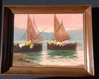 Signed Italian Mid Century Oil on Canvas - Impressionist Style Art - Sail Boats on Water - Illegible Artist Signature - Wood Framed Painting