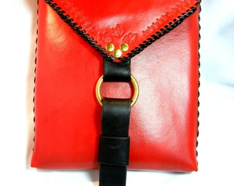 Red Leather Shoulder Bag for IPad, Books, Netbook, and Travel